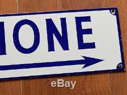 Antique / Vintage Porcelain Blue & White Telephone Sign Double Sided