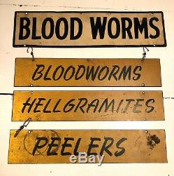 Antique Vtg 1950s Fishing Bait Tackle Worms Sign Metal Double Sided Hunting Game