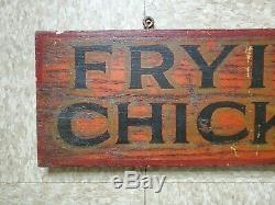 Antique Wood Painted Frying Chickens Sign Double Sided