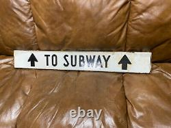 Antique subway street sign double sided metal 5 X 36 Train Transportation