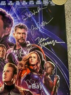 Avengers Endgame Double-Sided Theatrical poster Signed by 11 cast members JSA