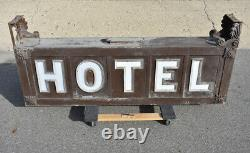 Backlit Opal Glass HOTEL Sign Double Sided Antique Advertising Can Early 1900's