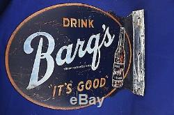 Barq's Flange Metal Soda Sign Drink it's good root beer double sided vintage