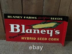 Blaney's Hybrid Corn Seeds Feed Flange Double Sided Sign USA Made