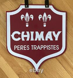 CHIMAY PERES TRAPPISTES 27 Double Sided Porcelain Belgian Beer Advertising Sign