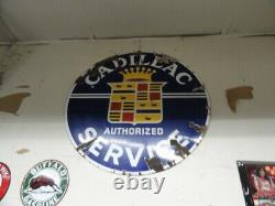 Cadillac 1930 S Porcelain 42 Inch Double Sided Sign With Mounting Bracket
