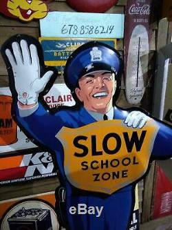 Coca Cola Fishtail School Guard Crossing Policeman Double Sided Sign