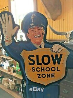 Coca Cola School Guard Crossing Policeman Double Sided Sign