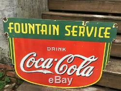 Coca cola fountain service Double Sided porcelain sign