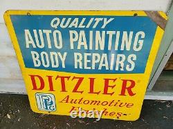 Ditzler Automotive Paint Sign Double Sided Vintage PPG Finishes Auto Body Repair