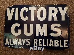 Double Sided Enamel Sign. Antique vintage sign. VICTORY gums. Medicine advert