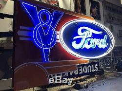 Double Sided Ford Neon V8 Dealership Sign 6ft By 10ft