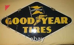Double Sided OLD Porcelain Sign GOODYEAR TIRES 1947. Bright Blue & Gold