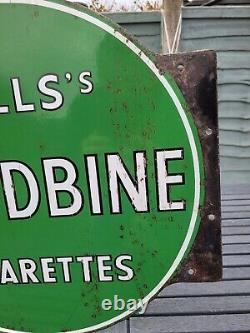 Double Sided Wills Woodbine Cigarettes Enamel Sign Advertising Porcelain 17 DIA