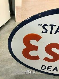 ESSO GASOLINE LARGE, HEAVY DOUBLE SIDED PORCELAIN DEALER SIGN, (36x 24) NICE