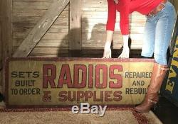 Early Original Radio Non Porcelain Painted Tin Double Sided Sign