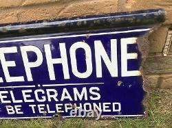 Early Vintage TELEPHONE Enamel Sign Double Sided with Hanging Flange/Bar