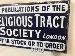 Enamel Sign Religious Tract Society Double Sided Porcelain Advertising Original
