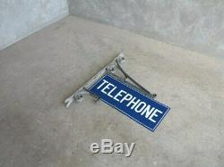 Enamel Wall Mounted Double Sided Telephone Sign Rare