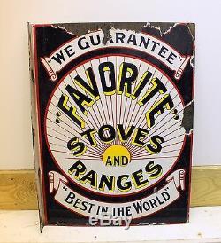 FAVORITE STOVES & RANGES Porcelain DOUBLE SIDED Sign advertising Flange 18x24
