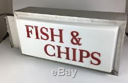 FISH & CHIPS Shop Illuminated Double Sided Sign Light Advertising TAKEAWAY