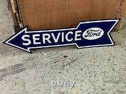 FORD SERVICE ARROW LARGE DOUBLE SIDED PORCELAIN SIGN (48x 13) NEAR MINT