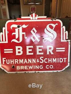 F&S Beer Porcelain Double Sided Sign Fuhrmann &Schmidt Brewing Co Shamokin Pa
