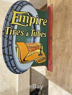 Flanged Vintage''empire & Tubes Tires'' Porcelain Sign Double Sided 24x16'