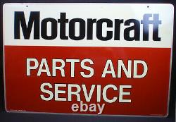 Ford Motorcraft Parts And Service double-sided tin dealership sign 27 x 18