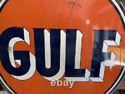 GULF DEALER Service Station 6 ft. Metal Porcelain Sign Double Sided Two Sides