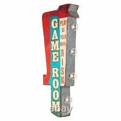 Game Room Double Sided Rustic Metal Marquee LED Light Up Arrow Sign Gameroom