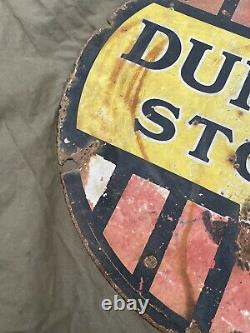 Genuine Dunlop Stock Double Sided Enamel Advertising Sign Automobilia 24 Tyres