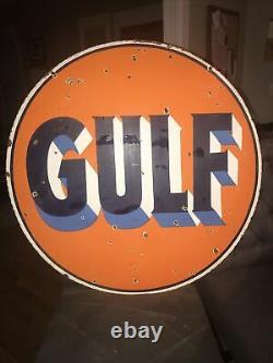 Gulf Oil 30 Double Sided Porcelain Sign