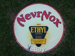 HIGH GRADE RARE 30 Nevrnox Double Sided Porcelain Sign OIL/GAS SUPER CLEAN