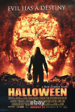 Halloween Full Sized Double Sided Poster SIGNED Rob & Sheri Moon Zombie Sid Haig