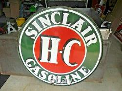 Hc Sinclair 4ft Double Sided Porcelain Sign 48 With Ring Hard To Find Size