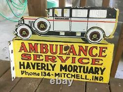 Heavy PORCELAIN Flange SIGN. 24 X 18 Die Cut Double Sided AMBULANCE SIGN