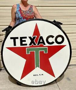 Huge Porcelain Texaco Gas And Oil Sign Double Sided 48 Man Cave Garage Shop Sig