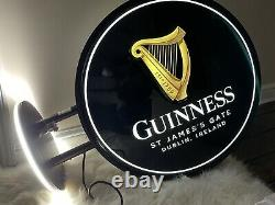 Huge Wall Hung Double Sided Light Up Guinness Sign. Pub Sign. Mancave Home Bar