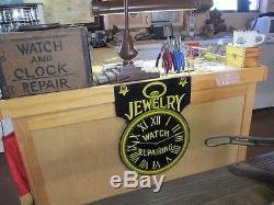 Jewelry Watch Repair Antique Porcelain Sign Double Sided with Sidewalk Bracket