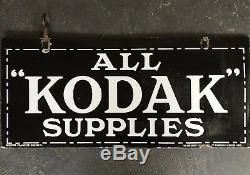 KODAK SUPPLIES Genuine Vintage Double Sided Enamel Sign