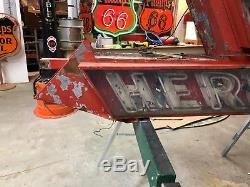 LARGE 8' NEON VinTagE ENTER HERE OPEN ARROW Sign Double Sided Gas Oil Display