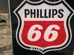 LARGE Original PHILLIPS 66 Sign DOUBLE SIDED in Hanger Vintage Gas Oil Station