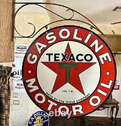 LARGE VINTAGE''TEXACO'' DOUBLE SIDED With BRACKET & 30 INCH PORCELAIN SIGN