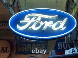 LQQK! 4' FORD Dealer DOUBLE SIDED NEON Car Truck Dealership Collection PATINA