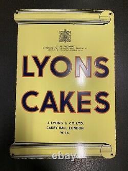LYONS CAKES Vintage Enamel Sign Double Sided Fantastic Original Condition