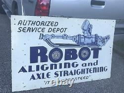 Large 1950s Robot Aligning And Axle Double Sided Porcelain Sign