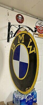 Large Bmw 30 Porcelain 2 Sided Double Sided Sign With Wall Bracket