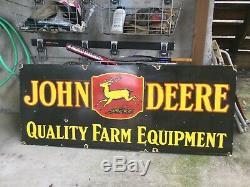 Large Double Sided John Deere Porcelain Sign 60