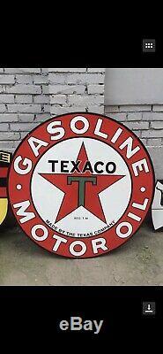 Large Double Sided Texaco Gasoline Motor Oil 42 Round Porcelain Sign